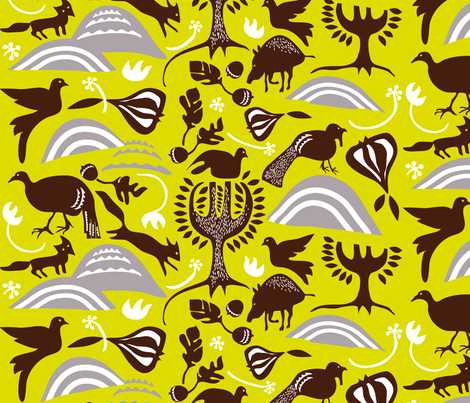 ROOTIN in GOLDENROD TOBACCO fabric by trcreative on Spoonflower - custom fabric