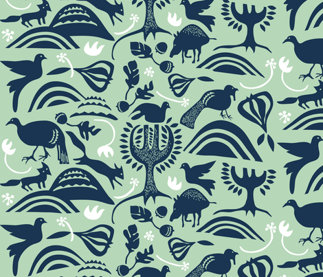 "ROOTIN in ""MINT & NAVY"" fabric by trcreative on Spoonflower - custom fabric"