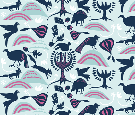 ROOTIN in MIST & NAVY fabric by trcreative on Spoonflower - custom fabric