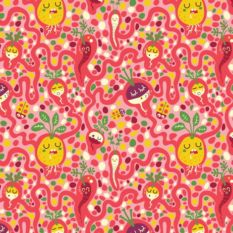 Asleep under the ground | green fabric by irrimiri on Spoonflower - custom fabric