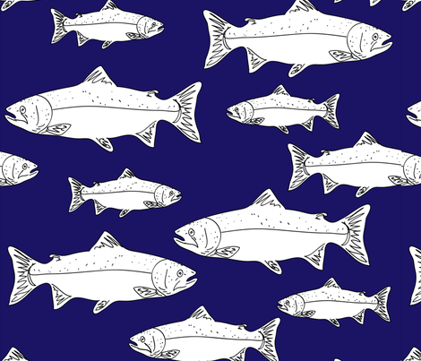 salmon3blueandwhite-01 fabric by cht222 on Spoonflower - custom fabric