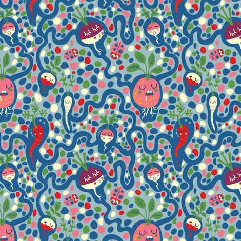 Asleep under the ground | blue fabric by irrimiri on Spoonflower - custom fabric