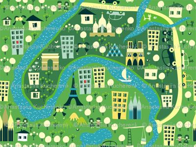 cartoon map of paris