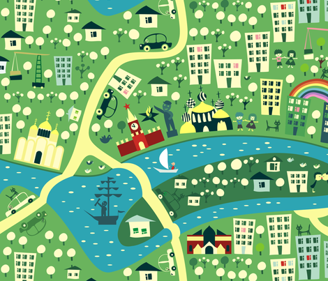 cartoon map of moscow fabric by anastasiia-ku on Spoonflower - custom fabric