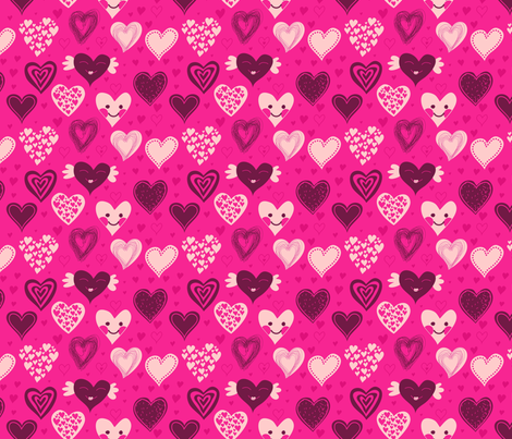 cute girly hearts fabric by anastasiia-ku on Spoonflower - custom fabric