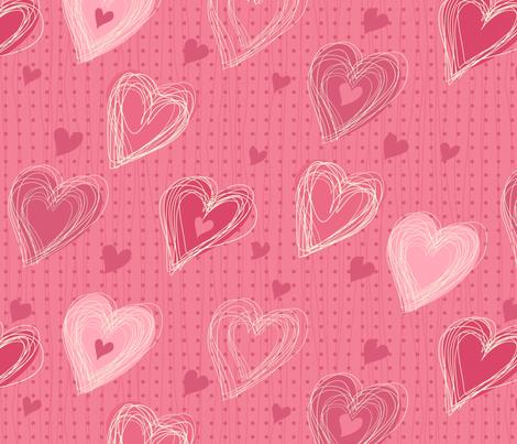 cute pink hearts fabric by anastasiia-ku on Spoonflower - custom fabric