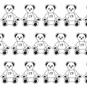 claire bear logo black and white