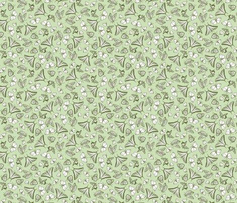 Green Butterfly Ditsy Garden Toile  ©2011 by Jane Walker fabric by artbyjanewalker on Spoonflower - custom fabric