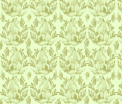 Foxy Loxy Laurel fabric by wednesdaysgirl on Spoonflower - custom fabric