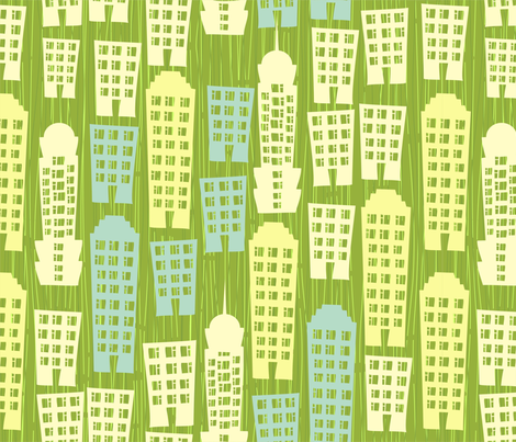 cartoon cityscape fabric by anastasiia-ku on Spoonflower - custom fabric