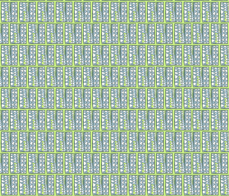 Blue and white cutouts on lime, small, by Su_G fabric by su_g on Spoonflower - custom fabric