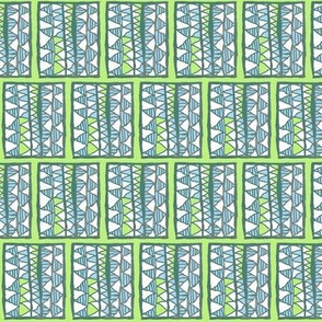Blue and white cutouts on lime, small, by Su_G