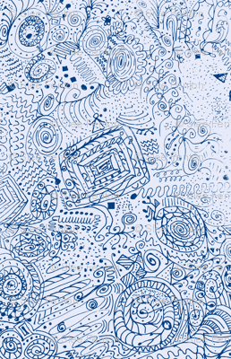 Doodle Spiral Swirlygigs in Blue and White