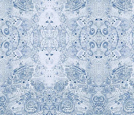Doodle Spiral Swirlygigs in Blue and White fabric by fentonslee on Spoonflower - custom fabric