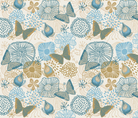 Butterflies and Flowers fabric by anastasiia-ku on Spoonflower - custom fabric