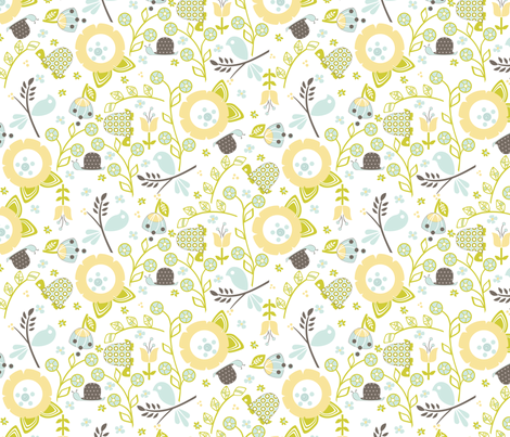 Ditsy Flower Garden - Large Scale fabric by ttoz on Spoonflower - custom fabric