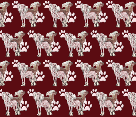 chinese crested dogs fabric