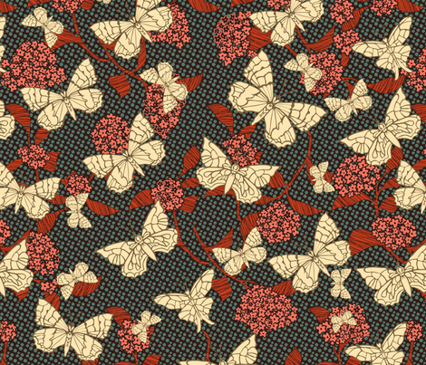 Butterfly Garden Dark fabric by kezia on Spoonflower - custom fabric