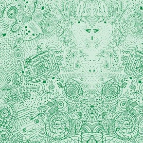Doodle Spiral Swirlygigsin Grass Green
