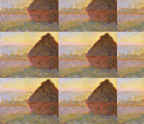 Monet - Haystacks (sunset) 1890-1891 fabric by studiofibonacci on Spoonflower - custom fabric