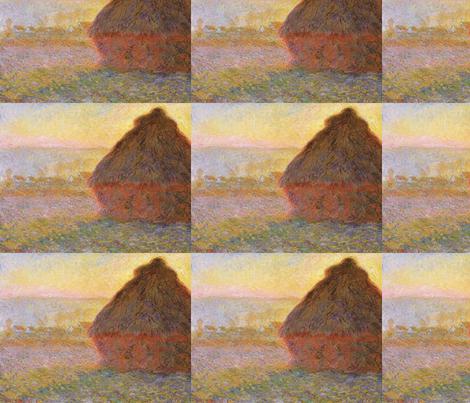 Monet - Haystacks (sunset) 1890-1891 fabric by studiofibonacci on Spoonflower - custom fabric
