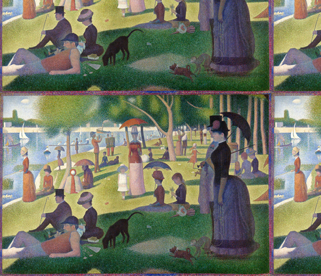 Seurat - Sunday Afternoon on the Island of La Grande Jatte (1886) fabric by studiofibonacci on Spoonflower - custom fabric