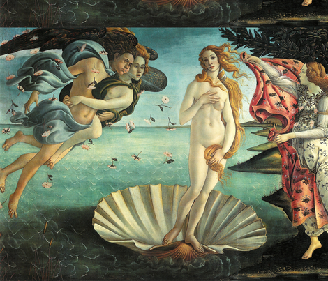Botticelli - The Birth of Venus (1485) fabric by studiofibonacci on Spoonflower - custom fabric