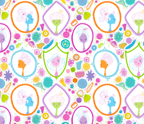 Girly Cameos fabric by spicysteweddemon on Spoonflower - custom fabric