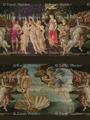 Botticelli Birth of Venus and Primavera Large Horizontal With Stripe