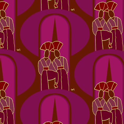 Exotics with curtains - Zoom for best view fabric by su_g on Spoonflower - custom fabric