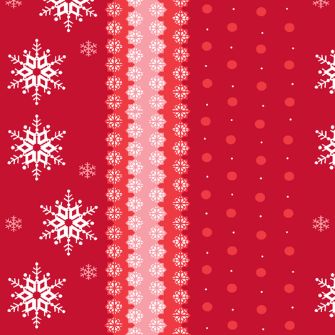 snowflakes on red fabric by elizabethjones on Spoonflower - custom fabric
