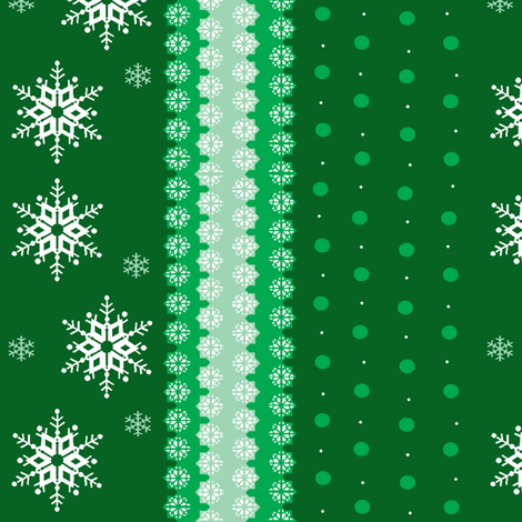 snowflakes on green fabric by elizabethjones on Spoonflower - custom fabric