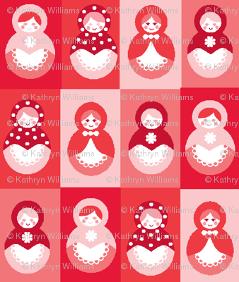 Russian dolls in Reds and Pinks