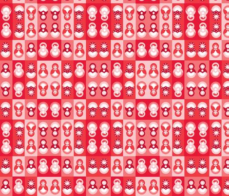 Russian dolls in Reds and Pinks fabric by elizabethjones on Spoonflower - custom fabric