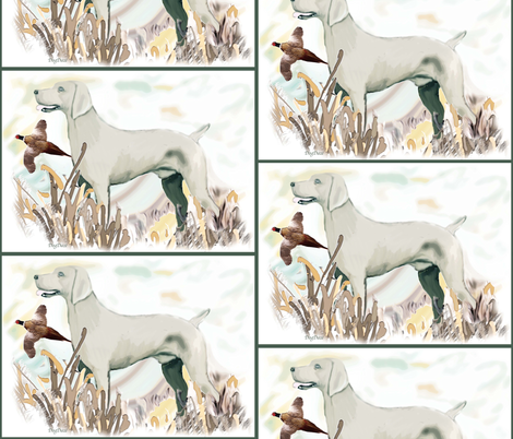 Hunting weimaraner and phasant fabric by dogdaze_ on Spoonflower - custom fabric
