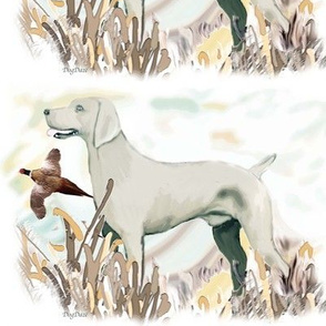 weimaraner and pheasant fat quarter