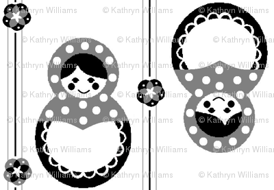 Russian Dolls in black and white