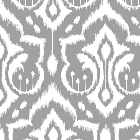 Ikat Damask - Gray Skies fabric by pattysloniger on Spoonflower - custom fabric