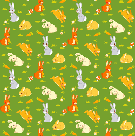Bunnies | green fabric by irrimiri on Spoonflower - custom fabric