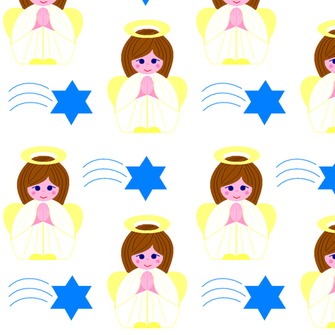 Angels and stars fabric by elizabethjones on Spoonflower - custom fabric