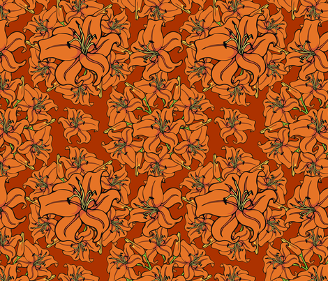 Day lilies amok fabric by hannafate on Spoonflower - custom fabric