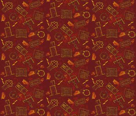 archaeologists - red fabric by glimmericks on Spoonflower - custom fabric