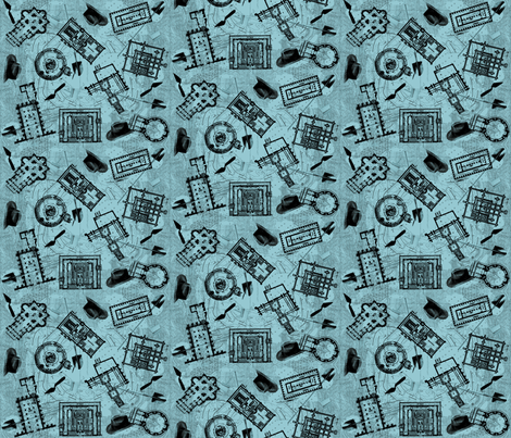 archaeologists - blueprint fabric by glimmericks on Spoonflower - custom fabric