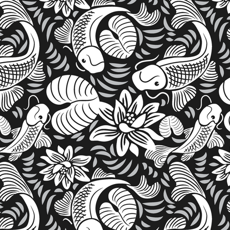 Koi Fish on Black fabric by dianne_annelli on Spoonflower - custom fabric