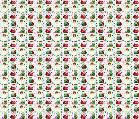 Angel, Santa & Elves too! fabric by elizabethjones on Spoonflower - custom fabric