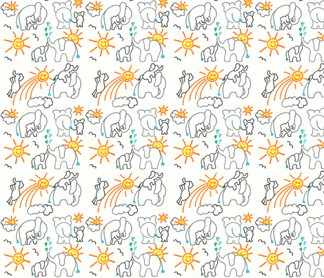 You Are My Sunshine Elephants in White Small fabric by kbexquisites on Spoonflower - custom fabric