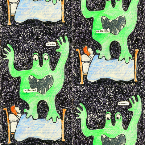 Monster On the Bed fabric by lusyspoon on Spoonflower - custom fabric