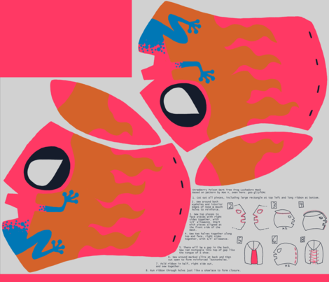 Poison Dart Frog Lucha Libre Mask Mongiesama Spoonflower