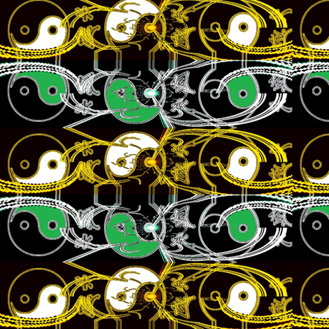 yin_and_yang_art_greenandblack fabric by _vandecraats on Spoonflower - custom fabric