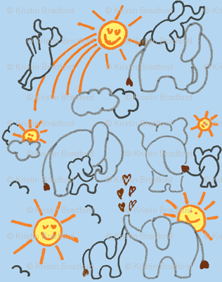 You Are My Sunshine Elephants in Blue